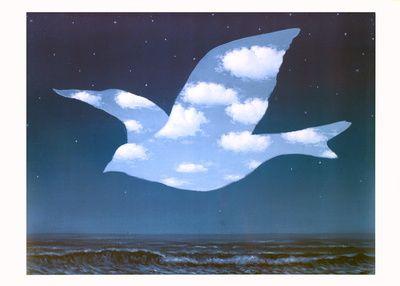 La tête dans les nuages (de Magritte)